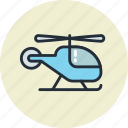 blue, helicopter, sky, transport, vehicle icon
