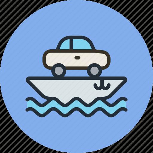 car, cargo, ship, transport, vessel icon