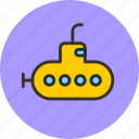 bathyscaph, deep-sea, science, submarine, yellow icon