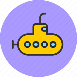 bathyscaph, deep-sea, science, submarine, yellow icon