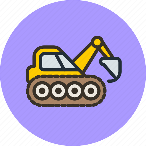 caterpillar, construction, digger, equipment, excavator, industrial icon
