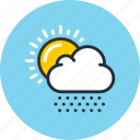 clouds, day, daylight, hail, snows, sun, weather icon