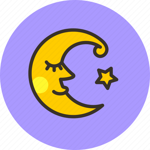crescent, fable, face, fairy tale, moon, night, weather icon