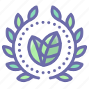 achievement, eco, green, wreath icon