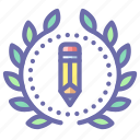 achievement, design, pencil, wreath icon