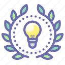 achievement, creative, idea, wreath icon