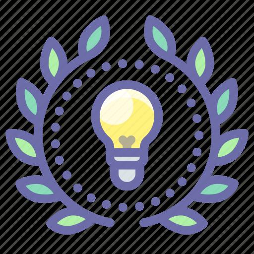 achievement, creative, idea, wreath icon