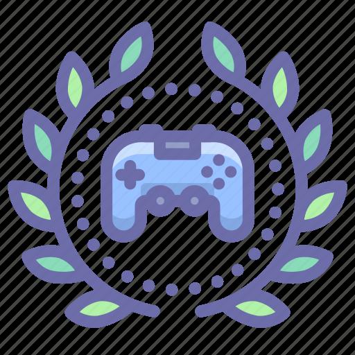 achievement, award, game, wreath icon