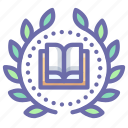 achievement, book, education, wreath icon