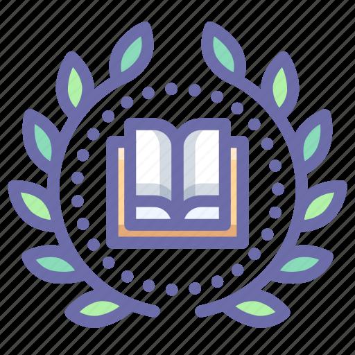 achievement, book, education, wreath icon
