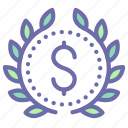 award, badge, money, wreath icon