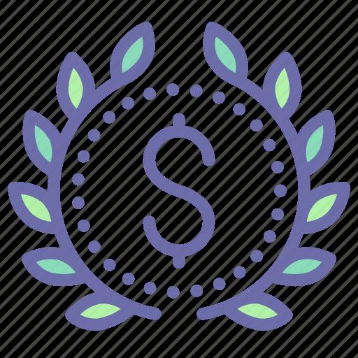 award, badge, money, wreath icon