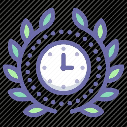 achievement, award, time, wreath icon