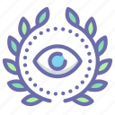 achievement, award, eye, wreath icon