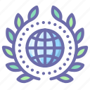 achievement, badge, earth, wreath icon