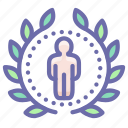 achievement, award, badge, person icon