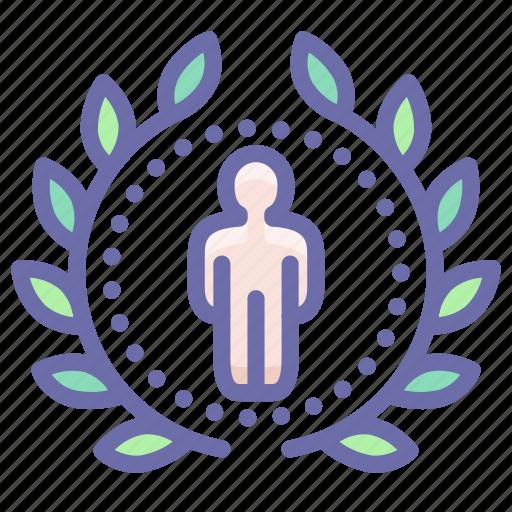 achievement, award, badge, person icon
