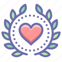 achievement, award, heart, wreath icon