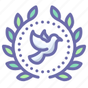 award, badge, dove, peace, wreath icon
