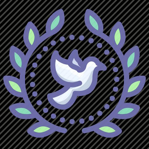 award, badge, dove, peace, wreath icon