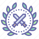 achievement, award, badge, wreath icon