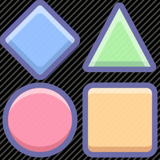 bricks, geometric, shapes, toy icon