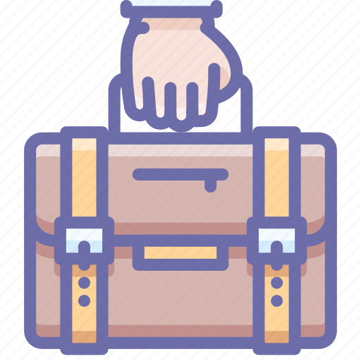 briefcase, business, hand, portfolio icon