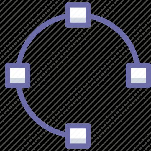 open, path, points icon