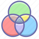 circles, color, intersection icon