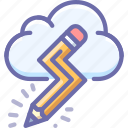 cloud, creative, pencil icon