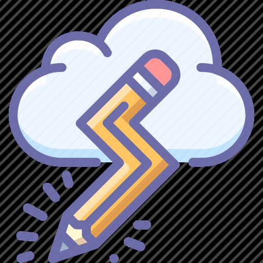 cloud, creative, pencil icon