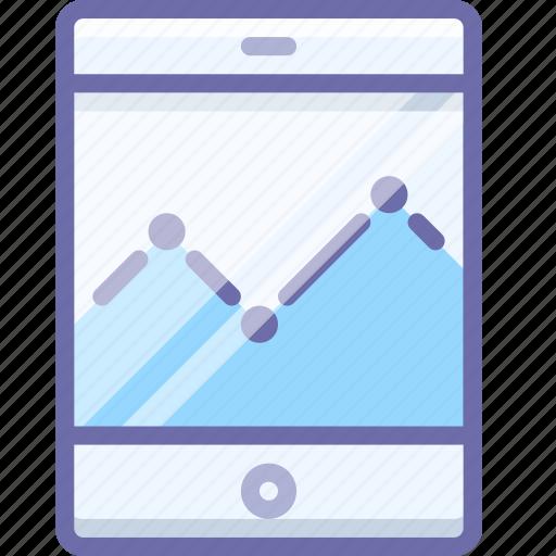 analytics, graph, smartphone icon