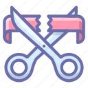 business, cut, finance, open, ribbon, scissors, start icon