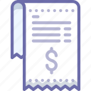 invoice, money, receipt icon