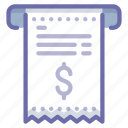 bill, finance, invoice, money, payment, receipt, receive icon