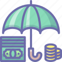 deposit, money, umbrella