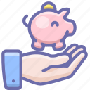 hand, money, piggy bank icon