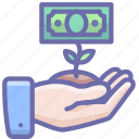 growth, hand, money icon