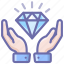 diamond, finance, hands, luxury, safe, secure, wealth icon