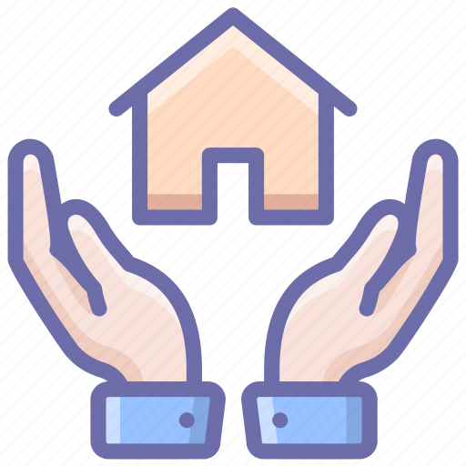 hands, house, insurance icon