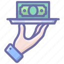 hand, money, tray icon