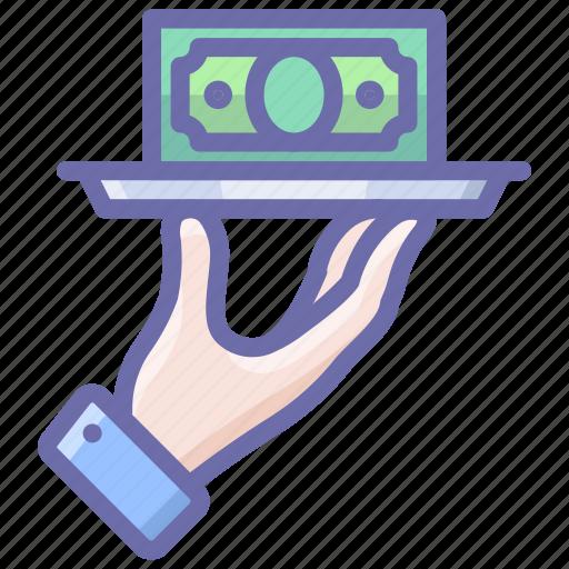 hand, money, tray icon