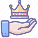 care, crown, hand icon