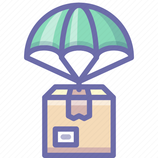 delivery, parachute, product icon
