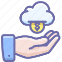 cloud, funding, hand, money