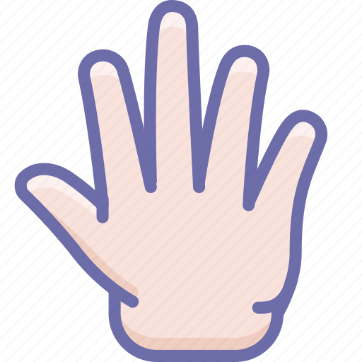 fingers, five, hand icon