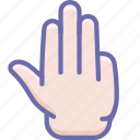 fingers, four, hand icon