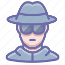 glasses, hat, incognito, spy icon