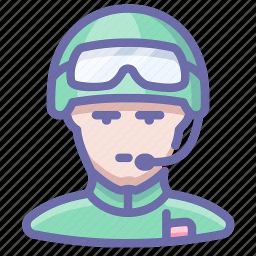 glasses, helmet, radio, soldier icon