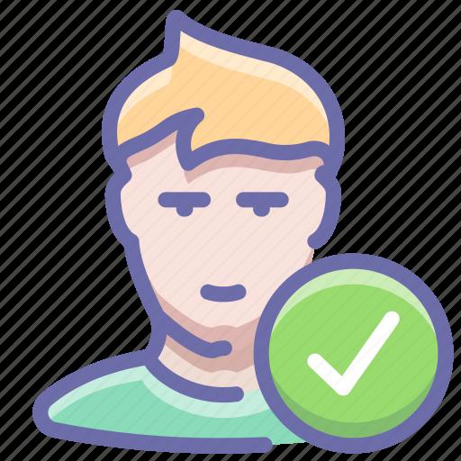 check, complete, user icon